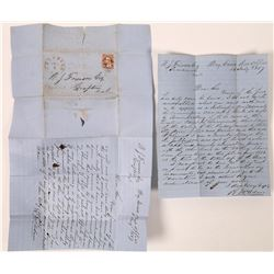 Dry Creek Coverless Letter to Grafton, California, 1857 with Great Mining Content  (123766)