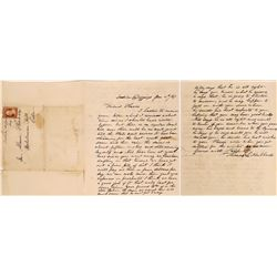 Coverless Envelope with an Indian Diggings Manuscript Postmark, 1857  (126752)