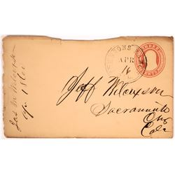 Johnson's Ranch, 1860 Double Circle Cover with Letter  (123789)