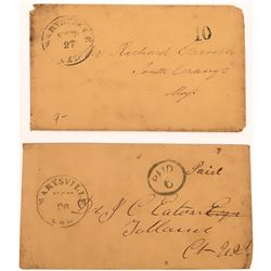 Two Marysville Gold Rush Covers: one 'PAID 6' and one '10'  (123808)