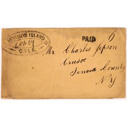 Rare Double Oval Mormon Island Postmark with 'PAID' 6  (123795)