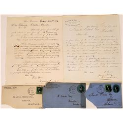 1876 cover, letter, gold dust receipt and envelopes  (126735)