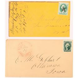 Two Red Strawberry Valley Postmarks  (123817)