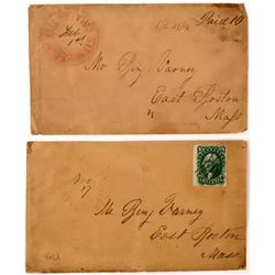 Two Strawberry Valley Covers: one has a manuscript 'paid 10', the other a 10 cent Washington (A14)