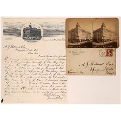 Windsor Hotel Pictorial Postal History Envelope, Letter and a Stereoview