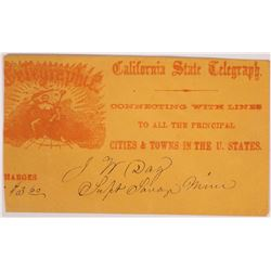 California State Telegraph full face envelope to J. N. Day, Supt. Savage Mine, Virginia City