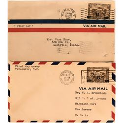Two Canadian First Day Air Mail Covers: February 1932  (115070)
