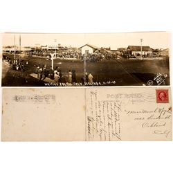 Two-Panel Real Photo Postcard of Train Depot at Coalinga  (126062)