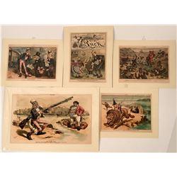 Nine PUCK Magazine Original Color Prints  (118911)