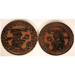 Two Vintage Wood Carved Tiki Gods  (119007)