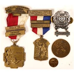 Rifle Shooting NRA Badges & Medallion Collection (5)  (119329)