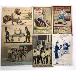 Very Humorous Baseball Themed Postcards  (125932)