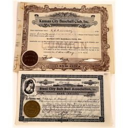 Two Different Baseball Stock Certificates  (107991)