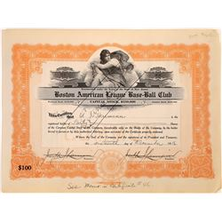 Boston American League Base-Ball Club Stock Certificate  (107992)
