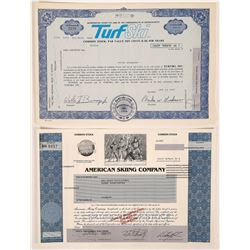 Two Different Skiing Stock Certificates  (126328)