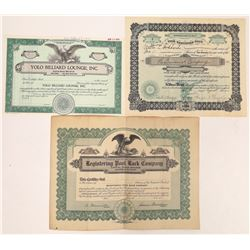 Billiards & Pool Related Stock Certificate Trio  (126325)