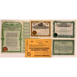 Swim Pools & Club Stock Certificates (5)  (126346)