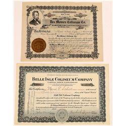 Two Different Stadium / Coliseum Stock Certificates  (126330)