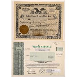 Two Different Tennis Stock Certificates  (126331)