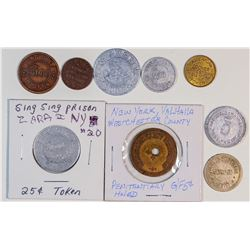 Eight New York Prison Tokens  (125772)