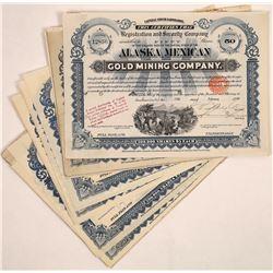 Alaska Mexican Gold Mining Co. Stock Certificates (20)  (126019)