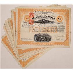 Alaska United Gold Mining Company Stock Certificates (20)  (126014)