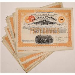 Alaska United Gold Mining Company Stock Certificates (20)  (126015)