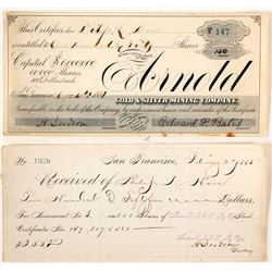 Arnold Gold & Silver Mining Company Stock and Receipt  (59589)