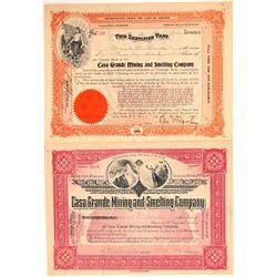 Casa Grande Mining & Smelting Co. Stock Certificate Pair  (106921)