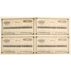 Hastings Consolidated Gold & Silver Mining Company Stock Certificates (4 count)  (62969)