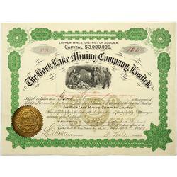 Rock Lake Mining Company Ltd. Stock Certificate, Ontario, Canada, 1901  (118709)