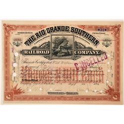 The Rio Grande Southern Railroad Co. Stock Signed by Otto Mears  (115890)