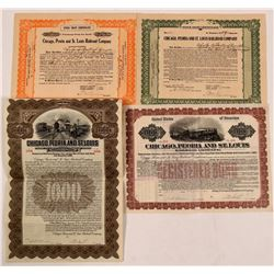 Chicago, Peoria & St. Louis Railroad Co Bonds (2) Plus Two Unknown Stock Trust Certificates  (111219