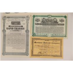 Two Western RR Stock Certs & Bond  (117228)