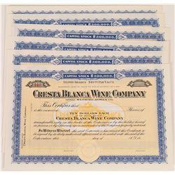 Cresta Blanca Wine Company Stock Certificates (6)  (125928)