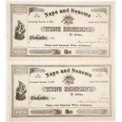 Napa and Sonoma Wine Company Stock Certificates (2 count)  (61760)