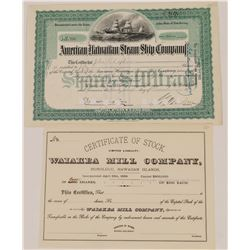 Two Different Hawaii Stock Certificates  (126031)