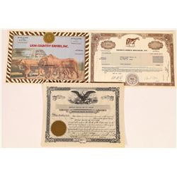 Three Animal-Related Stock Certificates  (126037)