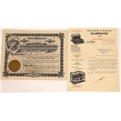 Typewriter Stock Certificate & Pictorial Letterhead  (126038)
