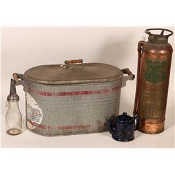 Foamite Fire Extinguisher, Martin Ware Wash Tub, bonus items  (108006)