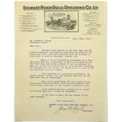 Stewart River Gold Dredging Co Letterhead With Dredging Ship, 1910  (118715)