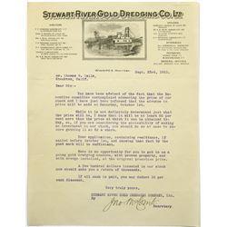 Stewart River Gold Dredging Co Letterhead With Dredging Ship, 1910  (118715)