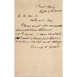 David K Udall Signed letter  (59730)