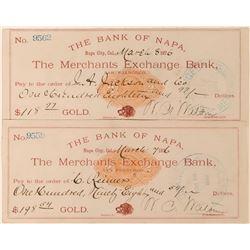 Napa City Revenue Imprinted Checks – Rare! (2)  (113588)