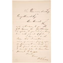 Letter about GW Swan from WD Snow to George Hearst  (101467)