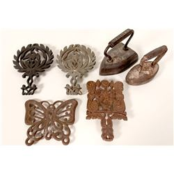 Antique Flat Irons & Trivets /  6 Items.  (109717)