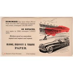 Rare Indianapolis 500 Blotter, 1948 Shows Race Car  (118302)