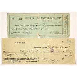Two Nevada Checks incl. Governor F.B. Balzar  (77500)
