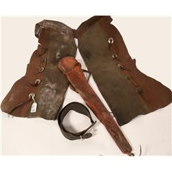 Leather Chaps, Rifle Scabbard, and Razor Strop  (109801)