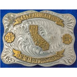 Belt Buckle, Western Style California 1989 with Gold and Silver Scroll  (47957)